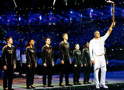 Steve REDGRAVE Signed Autograph 16x12 Olympic Torch Ceremony Photo AFTAL COA