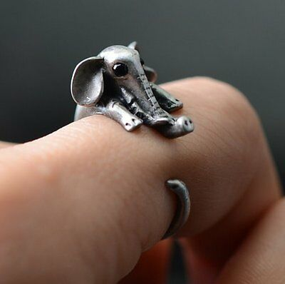 Special Lovely Elephant Ring New Fashion Women Silver Lucky Love Simple Jewelry
