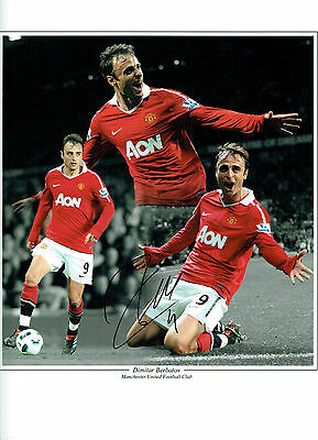 Dimitar BERBATOV Signed Autograph Manchester United LEGEND 16x12 Photo AFTAL COA