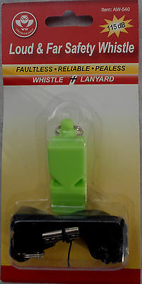 Hi-Viz FLUORESCENT GREEN Loud & Far Safety Whistle with Lanyard AW-540
