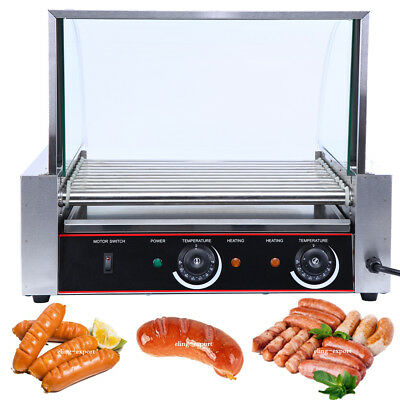 2200w Commercial 30 Hot Dog 11 Roller Cooker Machine w/ Stainless Steel DripTray