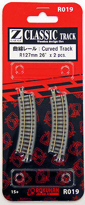 Rokuhan R019 R127mm 26º Curved Track 2 pcs. (1/220 Z Scale)