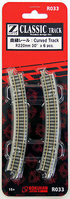 Rokuhan R033 R220mm 30º Curved Track 6 pcs. (1/220 Z Scale)