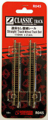 Rokuhan R045 110mm Straight Track without Track Bed 2 pcs. (1/220 Z Scale)