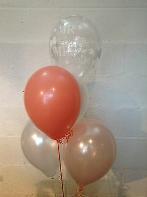 15 Mr & Mrs White Pearlised Balloons, Blush & Coral (Helium Quality)
