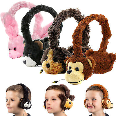 Kids Fluffy Animal 3.5mm Fun Headphones for Tablet iPad iPhone Vtech Leapfrog