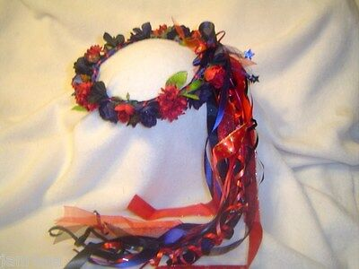 Jayla Handcrafted Head Wreath/ Red & Navy Silk Flowers/ Renaissance/Wedding/ New