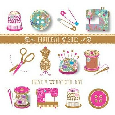 Handmade Sewing Happy Birthday Greeting Card By Talking Pictures Greetings Cards