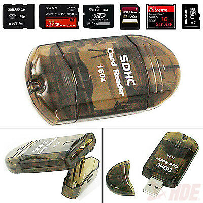 USB 2.0 Mini All in One Memory Card Reader Writer Adapter MMC SD SDHC Plug Drive