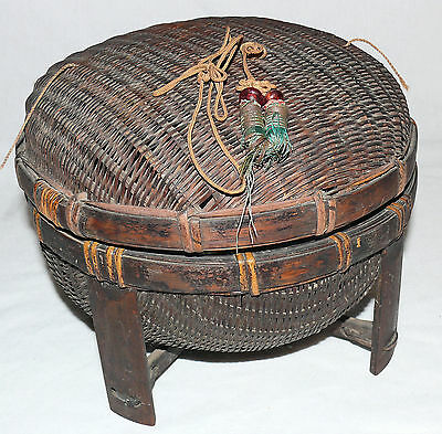 Primitive Round Wicker Sewing Knitting Basket with Lid Vintage