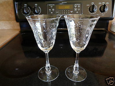 Pair Vintage Crystal Clear Cut Glass Decorative Wine Glasses Water Goblets Nice