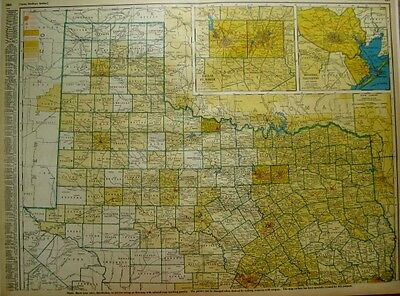 RARE Vintage TEXAS Map w RAILROADS Northern Section 1945  Map RARE SIZE 1410