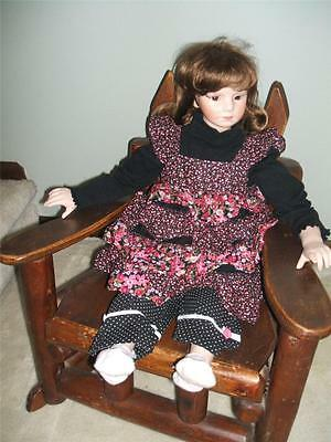 27 Inch PORCELAIN DOLL Soft Body BROWN HAIR & EYES New ONE OF A KIND