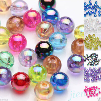 New 50/100Pcs Acrylic Plated AB Loose Spacer Round Beads Jewelry Finding DIY 8mm