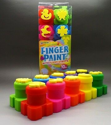"""10 Piece """"FINGER PAINTS WITH FUN STAMPS"""" Great for School Holidays ~ Brand New"""