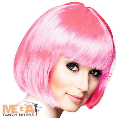 1920s Icy Pink Cabaret Wig Ladies Fancy Dress Showgirl Burlesque Adult Accessory