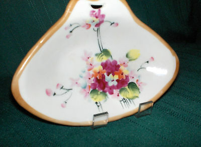 """5-3/""""4 vintage Imperial Nippon hand painted triangel shape candy dish, floral"""