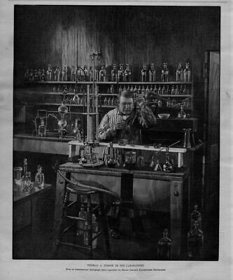 Thomas Edison Conducting Experiments In His Laboratory Test Tubes Beaker Science