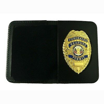 CWP Concealed Carry Weapons Permit Leather Wallet Case CCW with GOLD BADGE