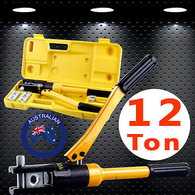 10mm-120mm 8 Die Crimper Cable Wire Crimping Tool Kit 12 Ton Hydraulic Plier New