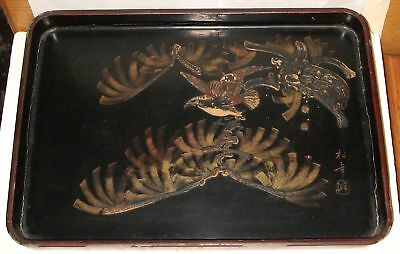 Old Japanese Lacquer Ware Eagle Nest Painted Signed Tray