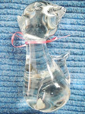 SMALL ABSTRACT SITTING CRYSTAL CAT FIGURINE