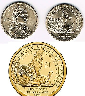 2013 P&d- Sacagawea ~~ Native American ~~ Golden Dollars ~~ From Mint Rolls