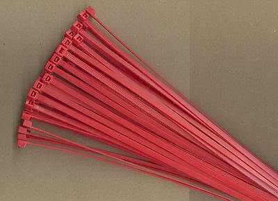 """100 14"""" Inch Long 50# Pound RED Nylon Cable Zip Ties Ty Wraps MADE IN USA"""