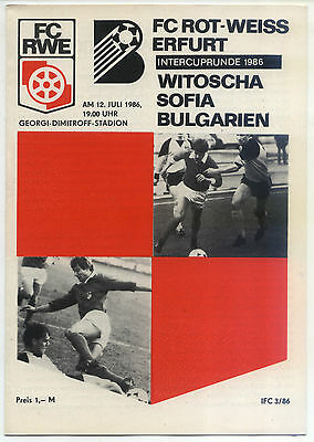 IFC 05.07.1986 FC Rot-Weiss Erfurt - Witoscha Sofia, InterToto Cup