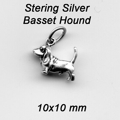 Sterling silver Basset Hound 3D Dog Charm apx 2 Grams