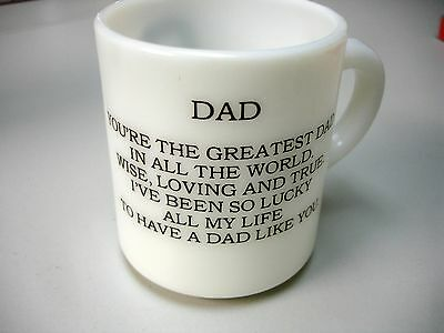 "Vintage Milk Glass ""DAD"" Mug / Cup- Picture & Poem- Exclnt Cond-Fathers Day!"