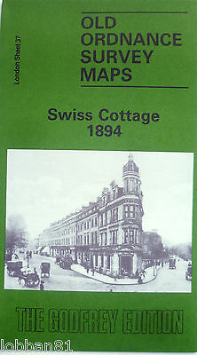 Detailed Old Ordnance Survey Map Swiss Cottage London 1894 Sheet 37 New