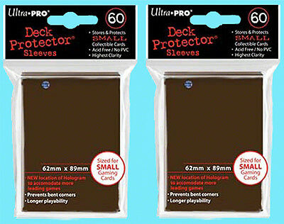 120 Ultra Pro DECK PROTECTOR BROWN Card Sleeves YuGiOh 2 packs NEW Small Size