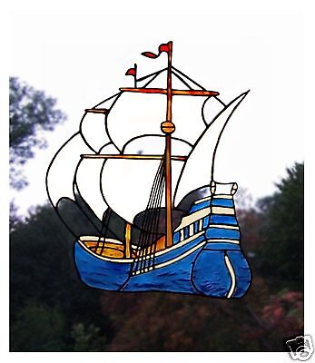 Sailing Boat Stained Glass Effect Window Cling / Decal