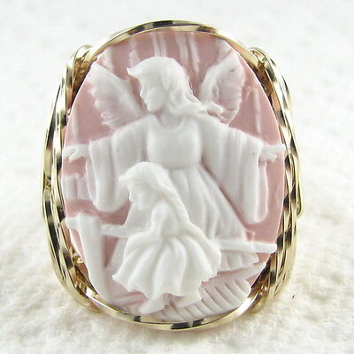 Guardian Angel Child Cameo Ring 14K Rolled Gold Jewelry Cream Resin Size Select