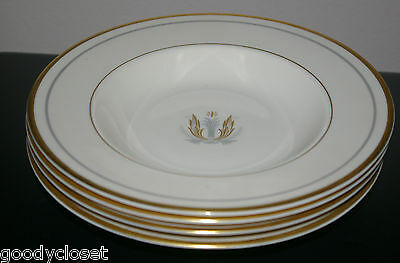 LOT OF 4 FLAT RIM SOUP BOWLS SYRACUSE CHINA GOVERNOR CLINTON PATTERN GOLD TRIM