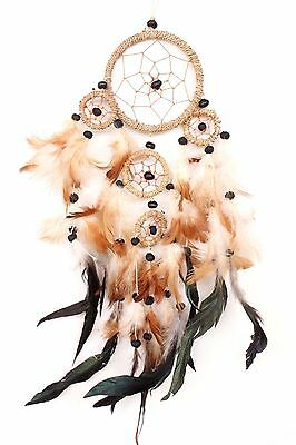 Brown Tan Dream Catcher Handmade Leather Feather Car  Wall Home Decor ( Qty 2 )