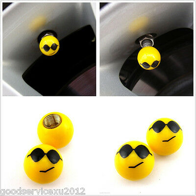 Two Yellow Wear Glasses Face Motorcycle Wheel Tire Tyre Air Dust Caps For E-TON