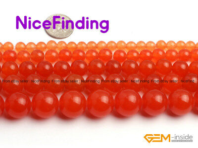 "Round Orange Jade Gemstone Beads For Jewelry Making Loose Beads Strand 15"" DIY"