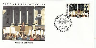 (41776) Marshall Is FDC WWII Freedom of Speech 1991