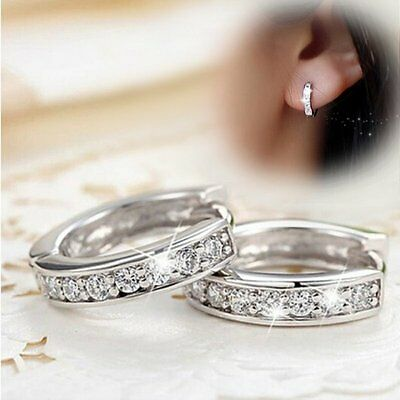 18k Silver Hoop Earrings Elegant Crystal Heart Stud Round Charming Wedding Hot