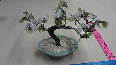 Pretty chinese flowered bonsai tree with jade/glass leaves and flowers purple wh