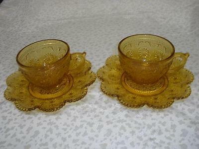 Stunning Patterned Amber Glass Teacups + Saucers 'brockway'usa