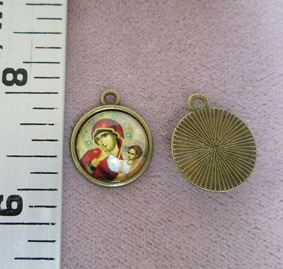 Lot 2 Mary Madonna & Child Byzantine Holy Medal Small COLOR Charm A132 Bronze