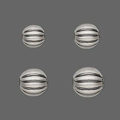 10 Antique Silver Plated Fluted Corrugated Round Spacer Beads Sizes Small - Big
