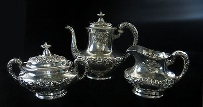 1930's Gorham Buttercup Sterling Silver 3 Piece Coffee Service Set
