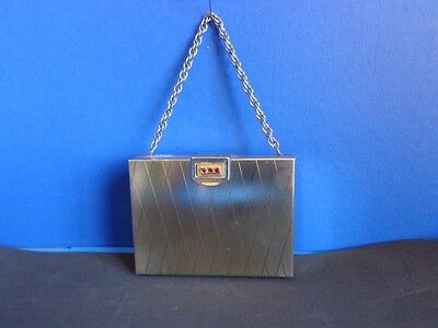 Vintage Volupte Metal Carryall Compact Purse With Chain