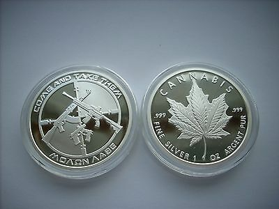 1 Oz Silver Coin Proof Ag-47 Molon Labe Come And Take It- Cannabis Pot Leaf Sbss