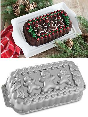 Nordicware GINGERBREAD FAMILY LOAF PAN Cakes Bread Jello Meatloaf HOLIDAY Holly