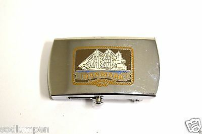 WOW Vintage DANMARK Ship Nautical Canvas Slim Chrome Belt Buckle Rare
